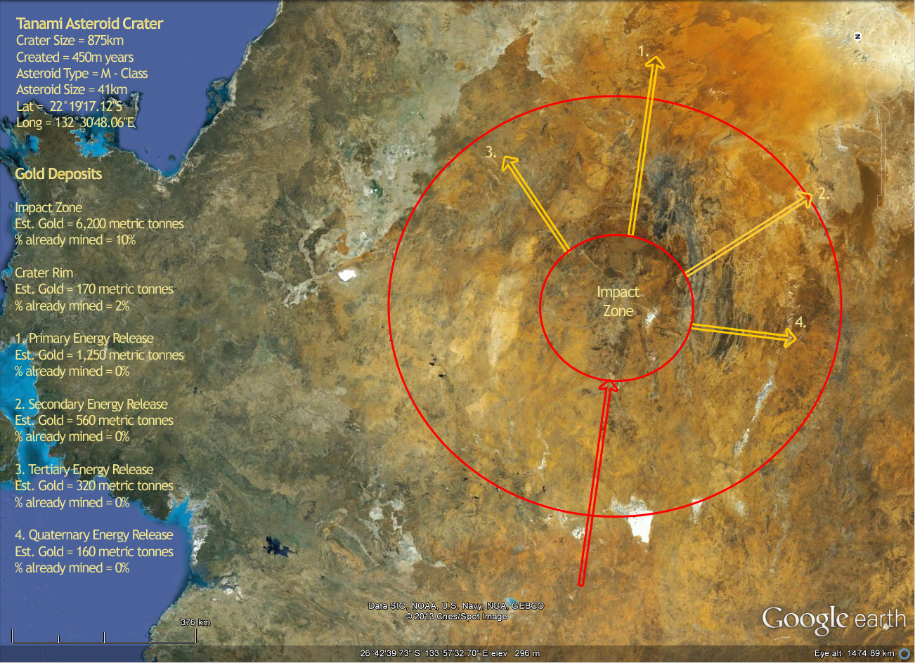 Asteroid impact crater zones deliver the gold in enormous ...